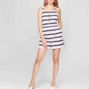 New Striped Sleeveless Romper with Pockets